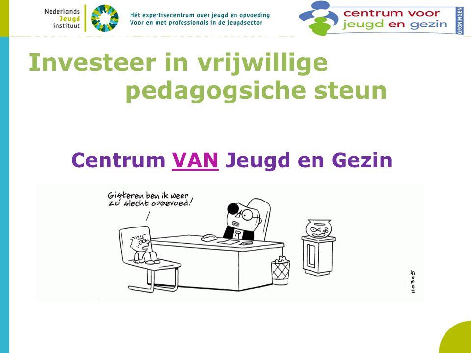 Investeer in vrijwillige pedagogsiche Investeer in vrijwillige pedagogsiche steun teun Centrum VAN Jeugd en Gezin