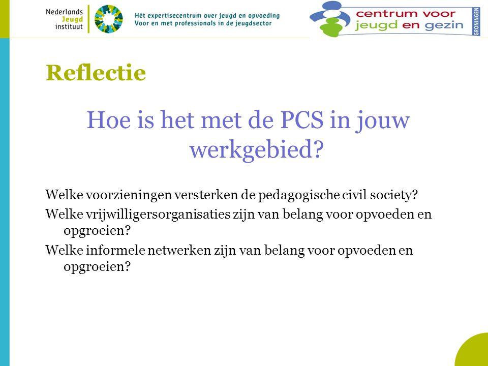 Reflectie Hoe is het met de PCS in jouw werkgebied? Welke voorzieningen versterken de pedagogische civil society? Welke vrijwilligersorganisaties zijn