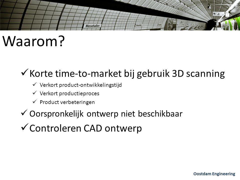 Waarom? Korte time-to-market bij gebruik 3D scanning Verkort product-ontwikkelingstijd Verkort productieproces Product verbeteringen Oorspronkelijk on