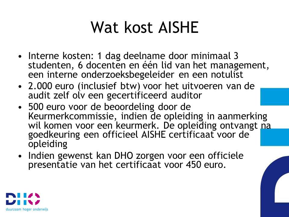 Wat kost AISHE Interne kosten: 1 dag deelname door minimaal 3 studenten, 6 docenten en één lid van het management, een interne onderzoeksbegeleider en een notulist 2.000 euro (inclusief btw) voor het uitvoeren van de audit zelf olv een gecertificeerd auditor 500 euro voor de beoordeling door de Keurmerkcommissie, indien de opleiding in aanmerking wil komen voor een keurmerk.