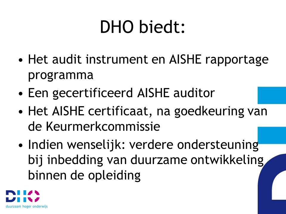 DHO biedt: Het audit instrument en AISHE rapportage programma Een gecertificeerd AISHE auditor Het AISHE certificaat, na goedkeuring van de Keurmerkcommissie Indien wenselijk: verdere ondersteuning bij inbedding van duurzame ontwikkeling binnen de opleiding