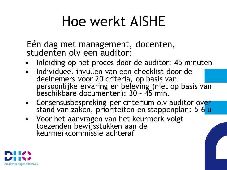 Hoe werkt AISHE Eén dag met management, docenten, studenten olv een auditor: Inleiding op het proces door de auditor: 45 minuten Individueel invullen van een checklist door de deelnemers voor 20 criteria, op basis van persoonlijke ervaring en beleving (niet op basis van beschikbare documenten): 30 – 45 min.