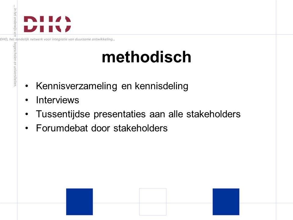 Kennisverzameling en kennisdeling Interviews Tussentijdse presentaties aan alle stakeholders Forumdebat door stakeholders methodisch
