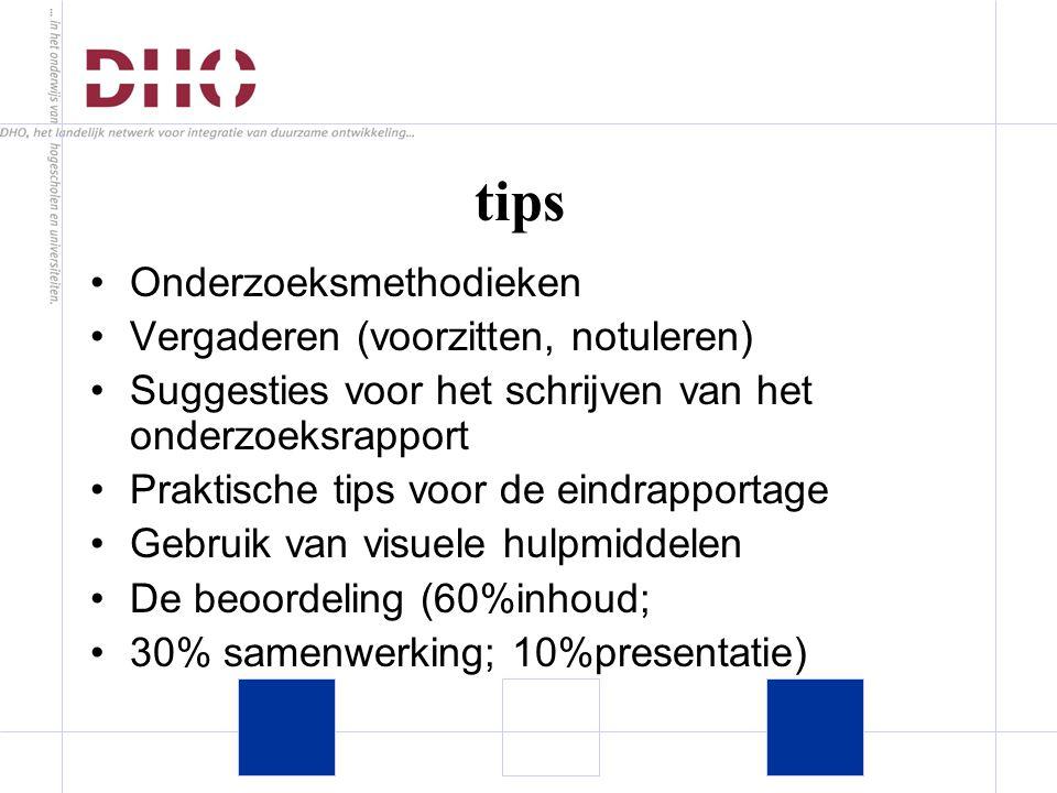 tips Onderzoeksmethodieken Vergaderen (voorzitten, notuleren) Suggesties voor het schrijven van het onderzoeksrapport Praktische tips voor de eindrapportage Gebruik van visuele hulpmiddelen De beoordeling (60%inhoud; 30% samenwerking; 10%presentatie)