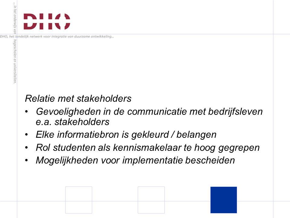 Relatie met stakeholders Gevoeligheden in de communicatie met bedrijfsleven e.a.