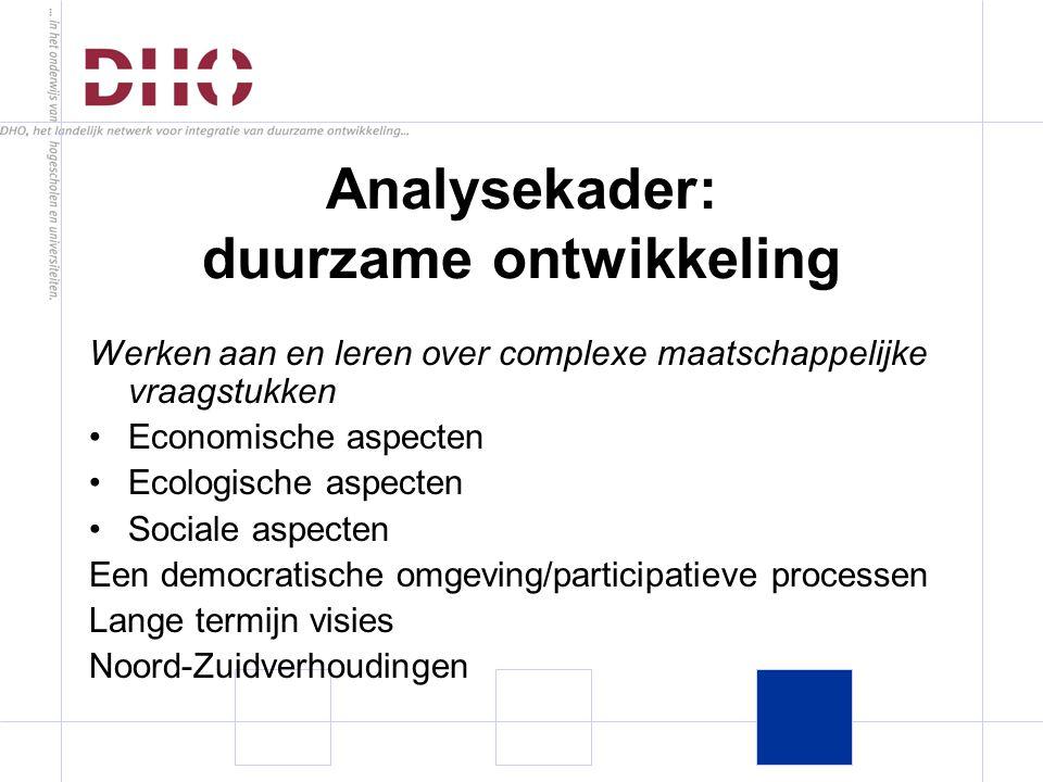 Analysekader: duurzame ontwikkeling Werken aan en leren over complexe maatschappelijke vraagstukken Economische aspecten Ecologische aspecten Sociale aspecten Een democratische omgeving/participatieve processen Lange termijn visies Noord-Zuidverhoudingen