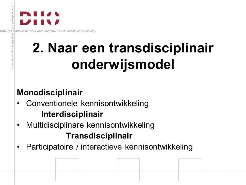 Monodisciplinair Conventionele kennisontwikkeling Interdisciplinair Multidisciplinare kennisontwikkeling Transdisciplinair Participatoire / interactieve kennisontwikkeling 2.