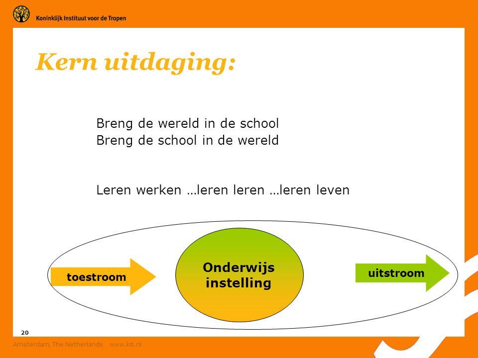 20 Amsterdam, The Netherlands www.kit.nl Kern uitdaging: Breng de wereld in de school Breng de school in de wereld Leren werken …leren leren …leren le