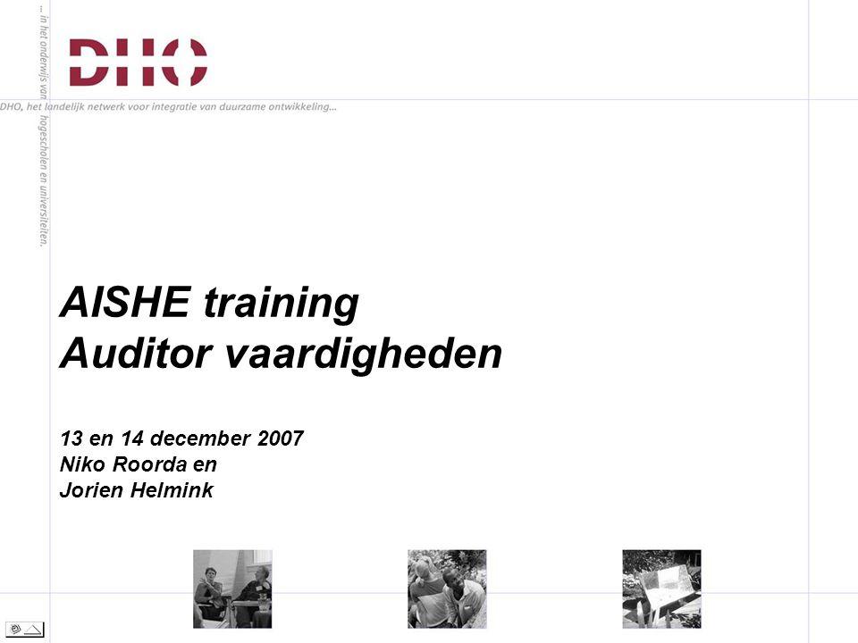 AISHE training Auditor vaardigheden 13 en 14 december 2007 Niko Roorda en Jorien Helmink