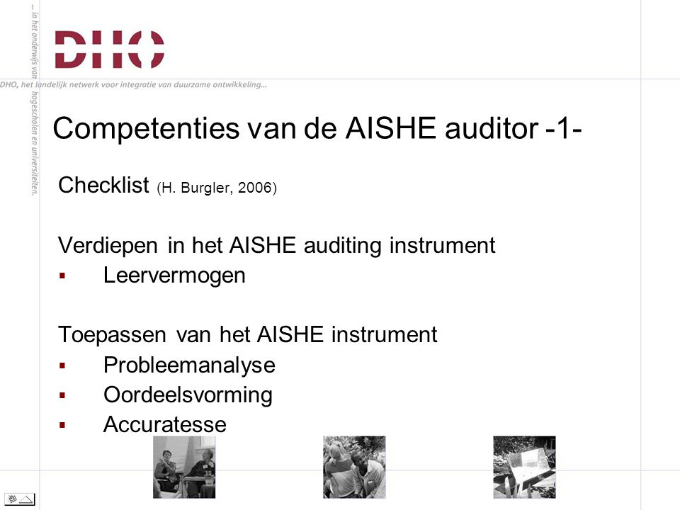 Competenties van de AISHE auditor -1- Checklist (H.