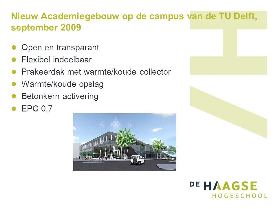 Nieuw Academiegebouw op de campus van de TU Delft, september 2009 Open en transparant Flexibel indeelbaar Prakeerdak met warmte/koude collector Warmte/koude opslag Betonkern activering EPC 0,7