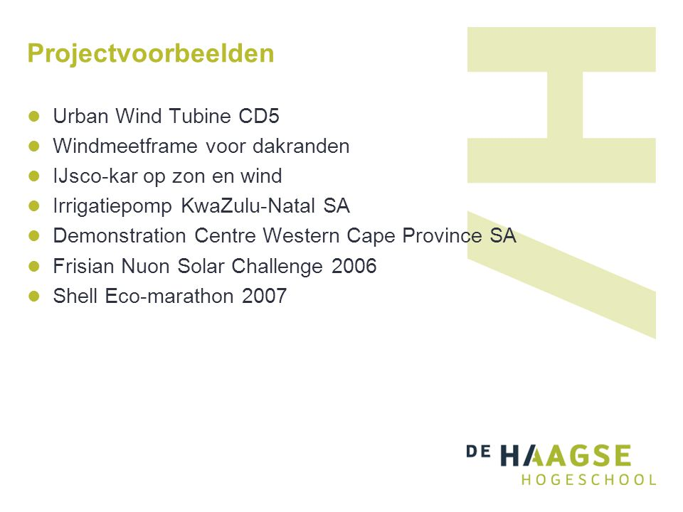 Projectvoorbeelden Urban Wind Tubine CD5 Windmeetframe voor dakranden IJsco-kar op zon en wind Irrigatiepomp KwaZulu-Natal SA Demonstration Centre Wes