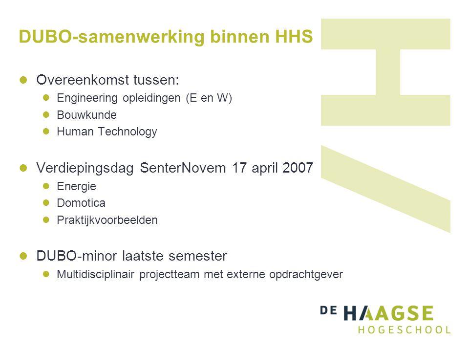 DUBO-samenwerking binnen HHS Overeenkomst tussen: Engineering opleidingen (E en W) Bouwkunde Human Technology Verdiepingsdag SenterNovem 17 april 2007