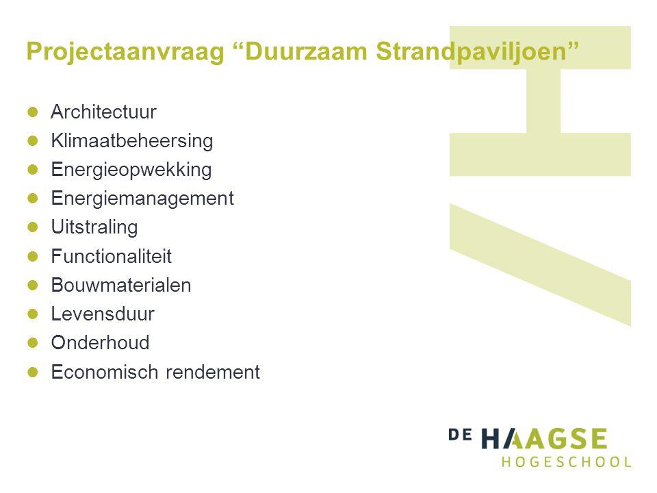 """Projectaanvraag """"Duurzaam Strandpaviljoen"""" Architectuur Klimaatbeheersing Energieopwekking Energiemanagement Uitstraling Functionaliteit Bouwmateriale"""