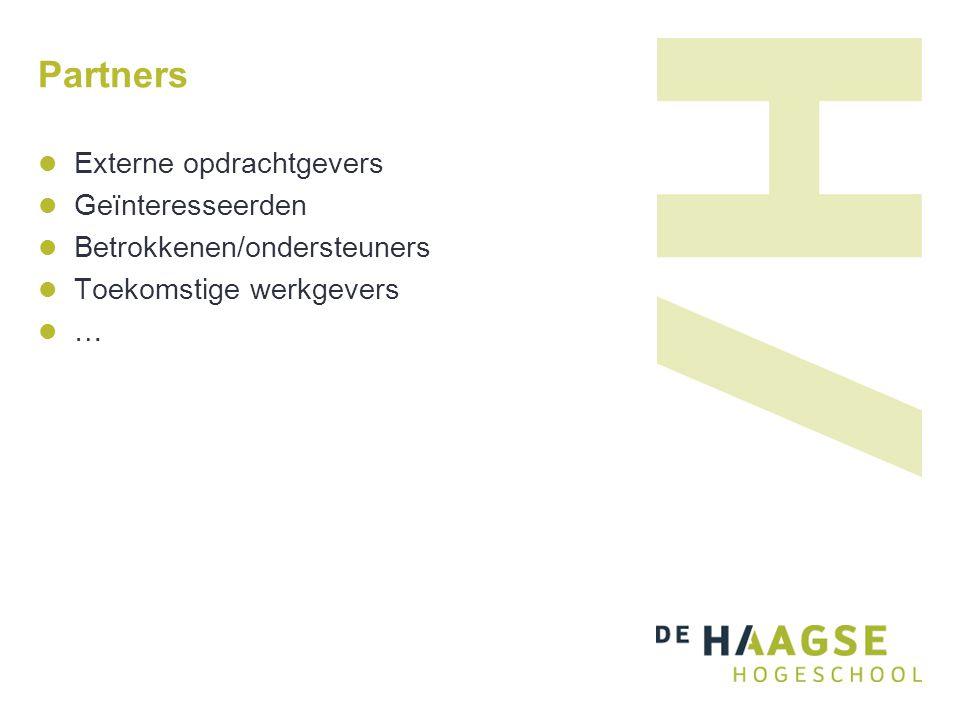 Partners Externe opdrachtgevers Geïnteresseerden Betrokkenen/ondersteuners Toekomstige werkgevers …
