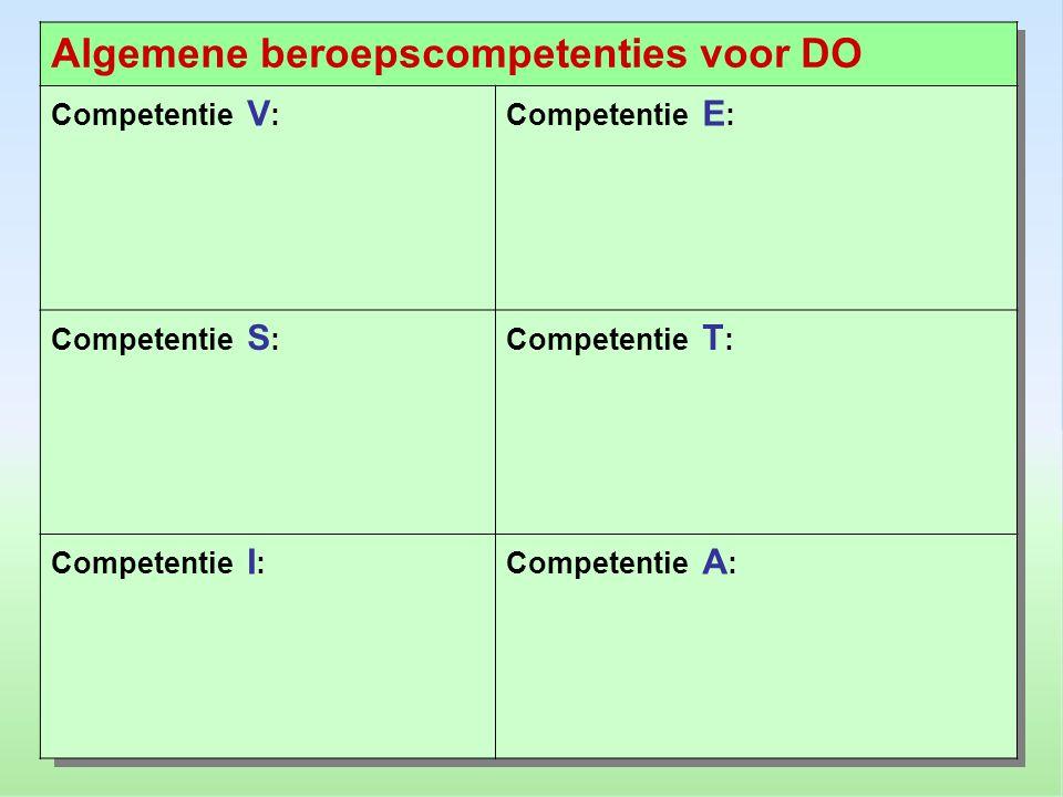 Competentie V :Competentie E : Competentie S :Competentie T : Competentie I :Competentie A :