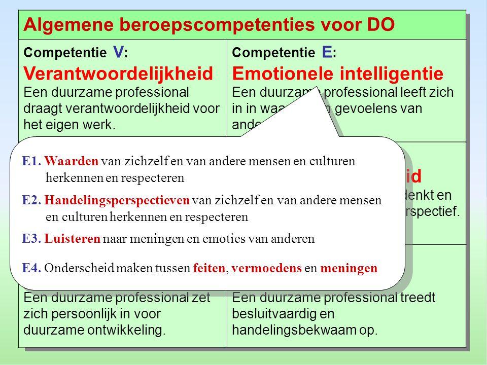 Algemene beroepscompetenties voor DO Competentie V : Verantwoordelijkheid Een duurzame professional draagt verantwoordelijkheid voor het eigen werk.