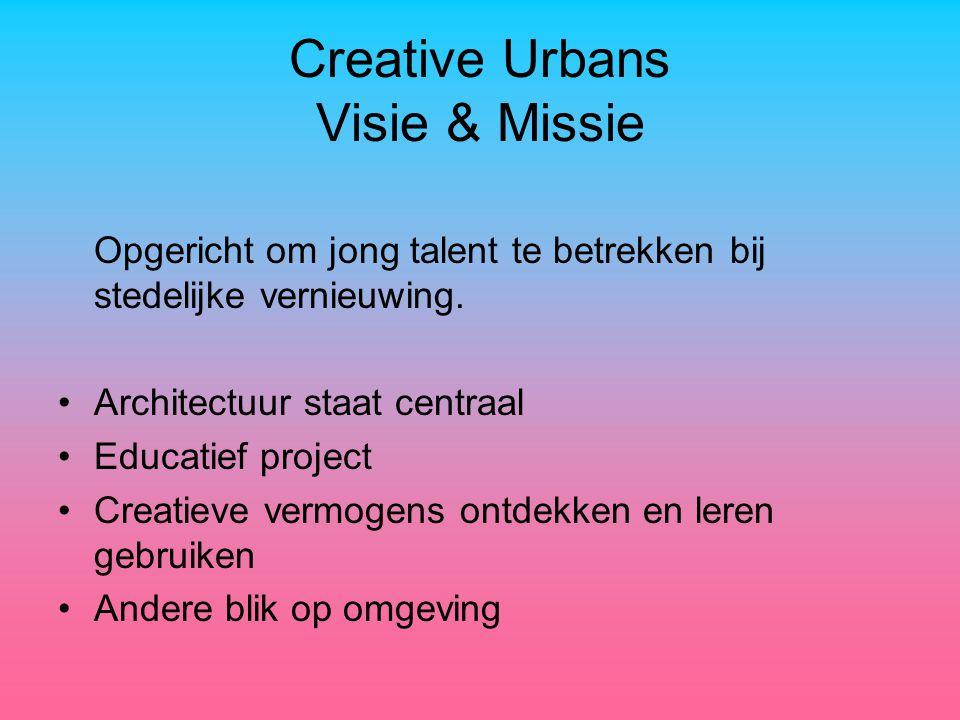 Creative Urbans Visie & Missie Opgericht om jong talent te betrekken bij stedelijke vernieuwing.
