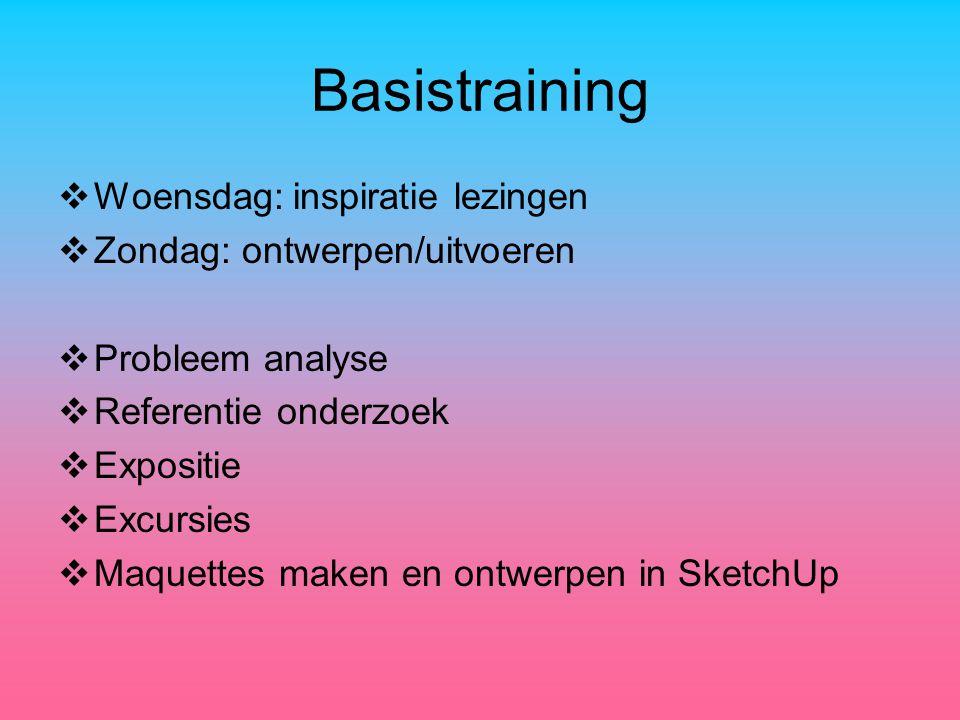 Basistraining  Woensdag: inspiratie lezingen  Zondag: ontwerpen/uitvoeren  Probleem analyse  Referentie onderzoek  Expositie  Excursies  Maquettes maken en ontwerpen in SketchUp
