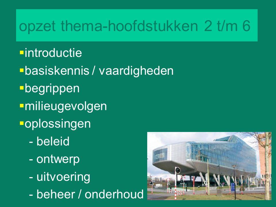 opzet thema-hoofdstukken 2 t/m 6  introductie  basiskennis / vaardigheden  begrippen  milieugevolgen  oplossingen - beleid - ontwerp - uitvoering