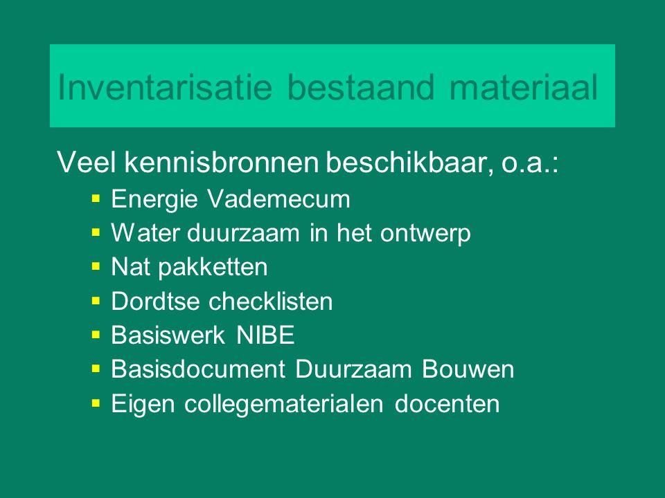 Inventarisatie bestaand materiaal Veel kennisbronnen beschikbaar, o.a.:  Energie Vademecum  Water duurzaam in het ontwerp  Nat pakketten  Dordtse