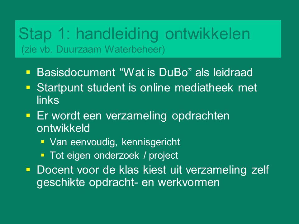 """Stap 1: handleiding ontwikkelen (zie vb. Duurzaam Waterbeheer)  Basisdocument """"Wat is DuBo"""" als leidraad  Startpunt student is online mediatheek met"""