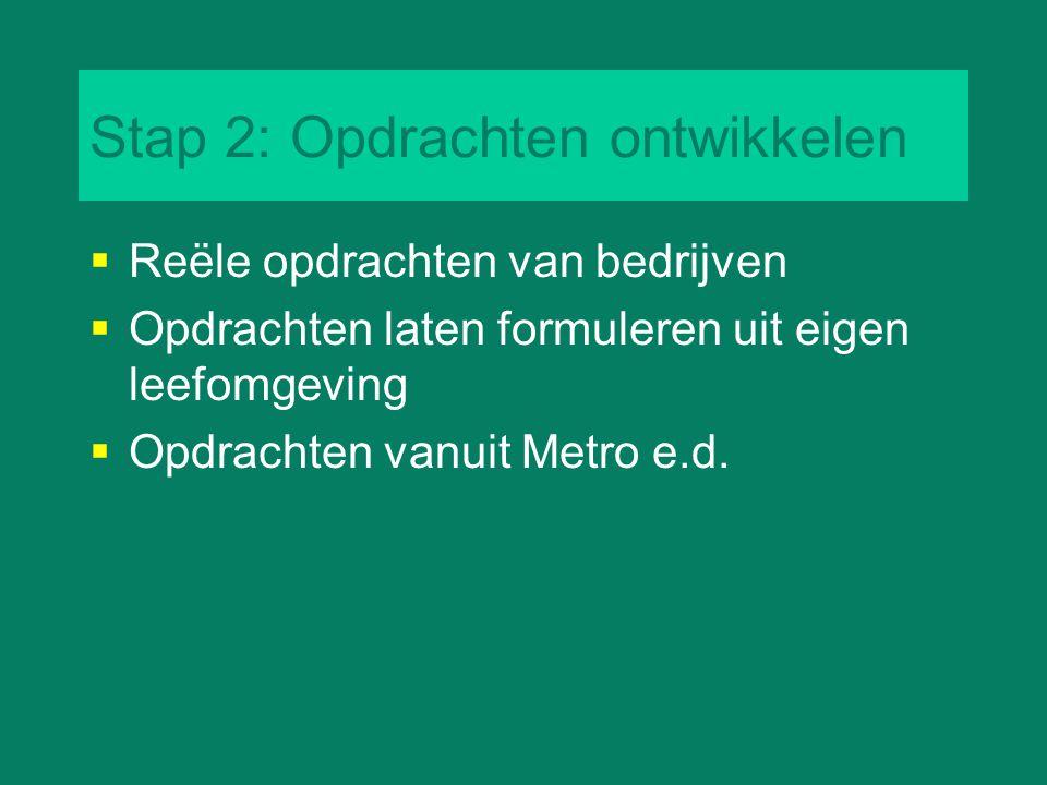 Stap 2: Opdrachten ontwikkelen  Reële opdrachten van bedrijven  Opdrachten laten formuleren uit eigen leefomgeving  Opdrachten vanuit Metro e.d.