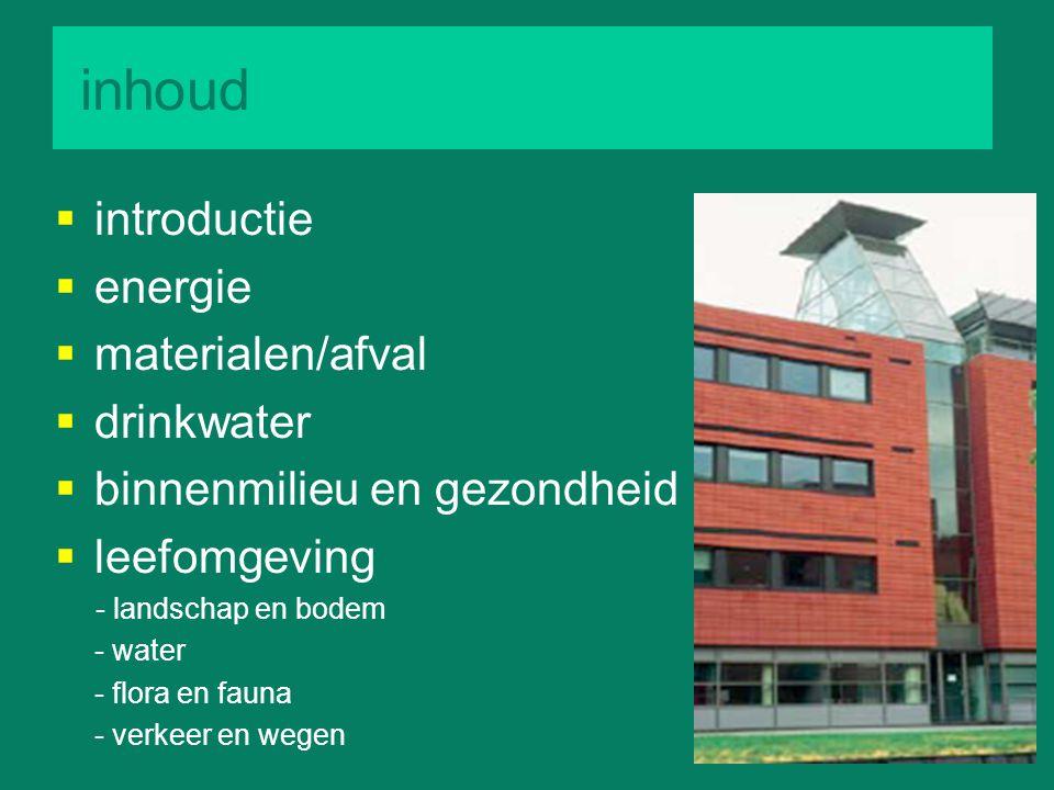 inhoud  introductie  energie  materialen/afval  drinkwater  binnenmilieu en gezondheid  leefomgeving - landschap en bodem - water - flora en fau