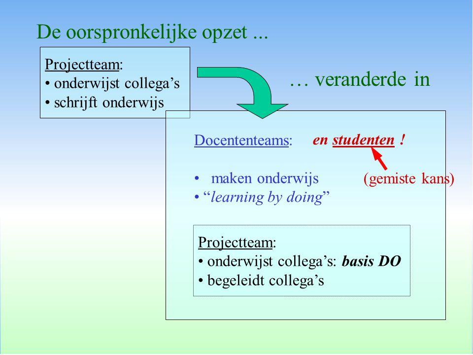 Projectteam: onderwijst collega's schrijft onderwijs De oorspronkelijke opzet...