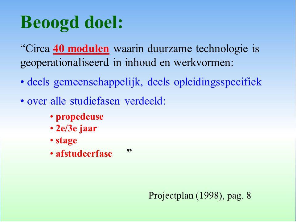Circa 40 modulen waarin duurzame technologie is geoperationaliseerd in inhoud en werkvormen: deels gemeenschappelijk, deels opleidingsspecifiek over alle studiefasen verdeeld: propedeuse 2e/3e jaar stage afstudeerfase Beoogd doel: Projectplan (1998), pag.