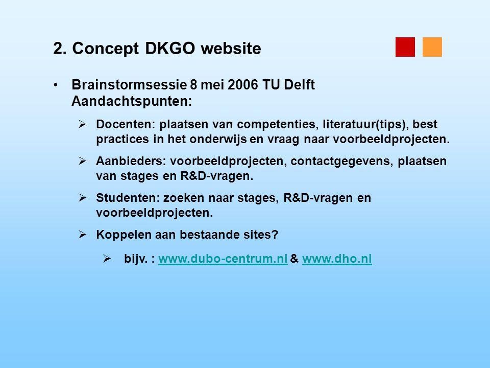 2. Concept DKGO website Brainstormsessie 8 mei 2006 TU Delft Aandachtspunten:  Docenten: plaatsen van competenties, literatuur(tips), best practices