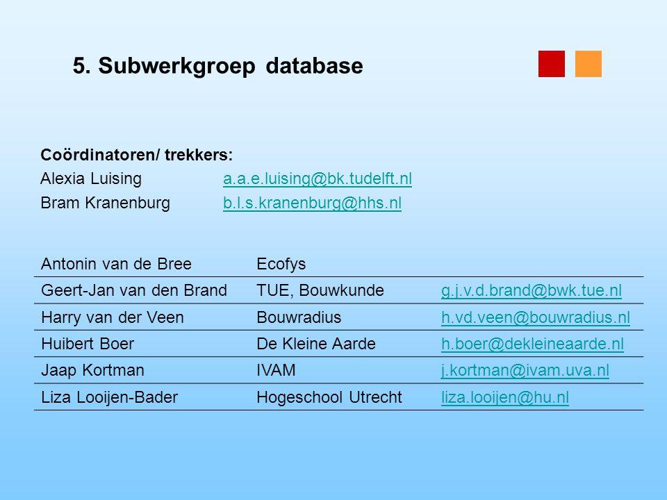 5. Subwerkgroep database Coördinatoren/ trekkers: Alexia Luisinga.a.e.luising@bk.tudelft.nla.a.e.luising@bk.tudelft.nl Bram Kranenburgb.l.s.kranenburg