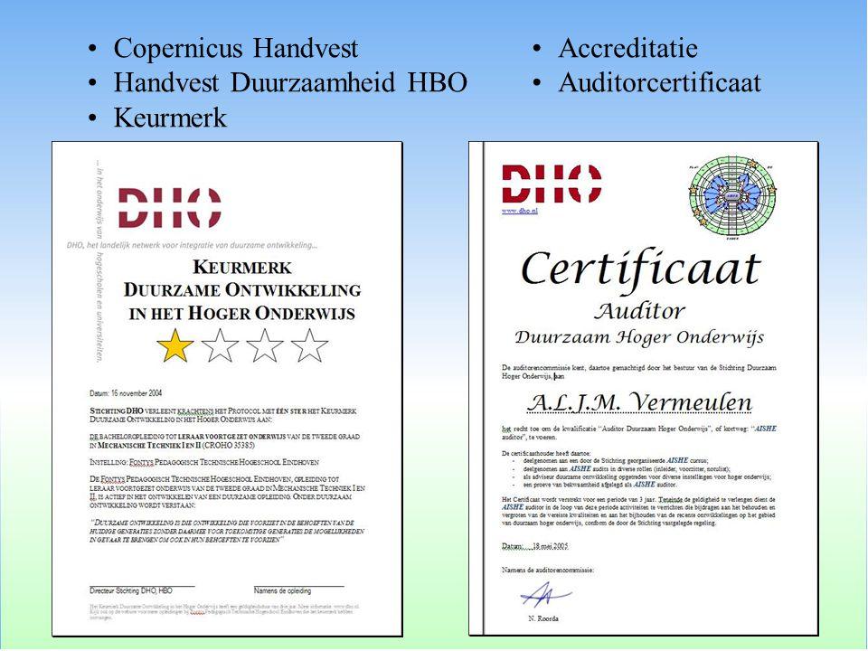 Copernicus Handvest Handvest Duurzaamheid HBO Keurmerk Accreditatie Auditorcertificaat