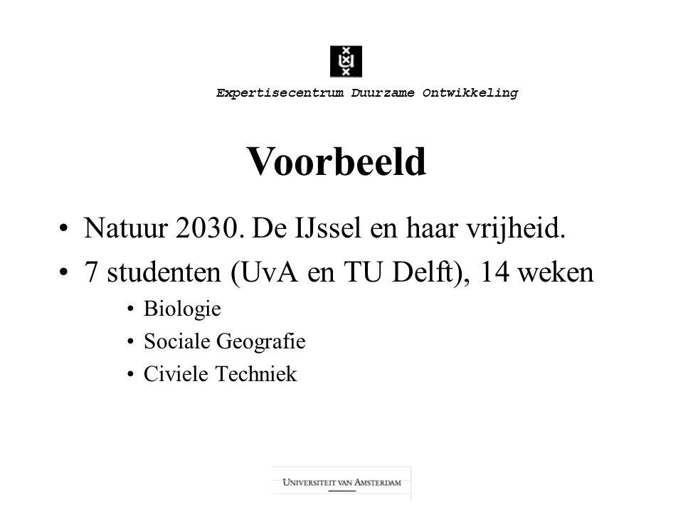 Expertisecentrum Duurzame Ontwikkeling Natuur 2030. De IJssel en haar vrijheid. 7 studenten (UvA en TU Delft), 14 weken Biologie Sociale Geografie Civ