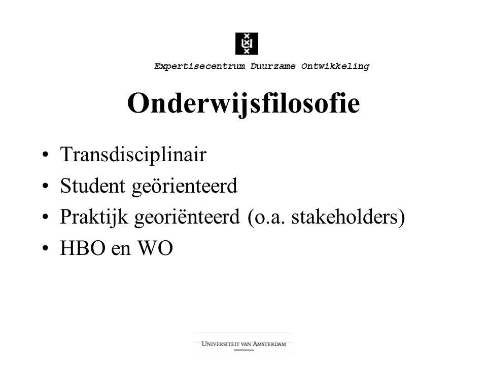Expertisecentrum Duurzame Ontwikkeling Onderwijsfilosofie Transdisciplinair Student geörienteerd Praktijk georiënteerd (o.a. stakeholders) HBO en WO