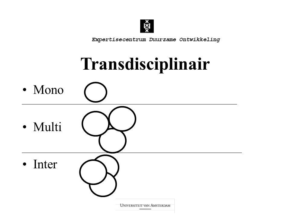 Expertisecentrum Duurzame Ontwikkeling Transdisciplinair Mono Multi Inter