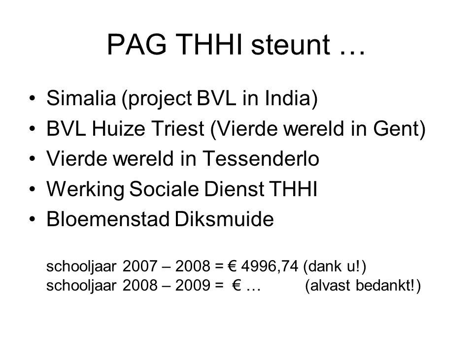 PAG THHI steunt … Simalia (project BVL in India) BVL Huize Triest (Vierde wereld in Gent) Vierde wereld in Tessenderlo Werking Sociale Dienst THHI Blo