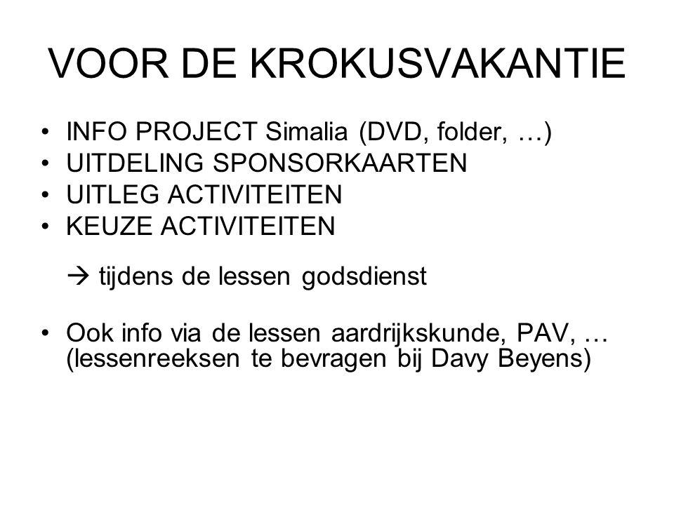 VOOR DE KROKUSVAKANTIE INFO PROJECT Simalia (DVD, folder, …) UITDELING SPONSORKAARTEN UITLEG ACTIVITEITEN KEUZE ACTIVITEITEN  tijdens de lessen godsd
