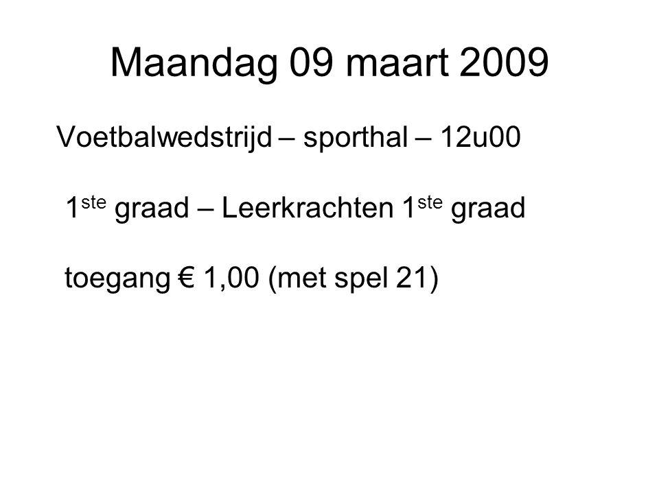 Maandag 09 maart 2009 Voetbalwedstrijd – sporthal – 12u00 1 ste graad – Leerkrachten 1 ste graad toegang € 1,00 (met spel 21)