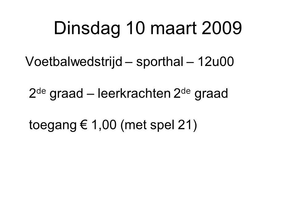 Dinsdag 10 maart 2009 Voetbalwedstrijd – sporthal – 12u00 2 de graad – leerkrachten 2 de graad toegang € 1,00 (met spel 21)