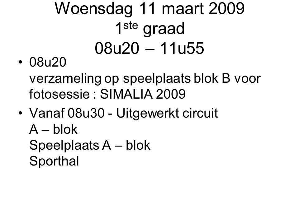 Woensdag 11 maart 2009 1 ste graad 08u20 – 11u55 08u20 verzameling op speelplaats blok B voor fotosessie : SIMALIA 2009 Vanaf 08u30 - Uitgewerkt circu