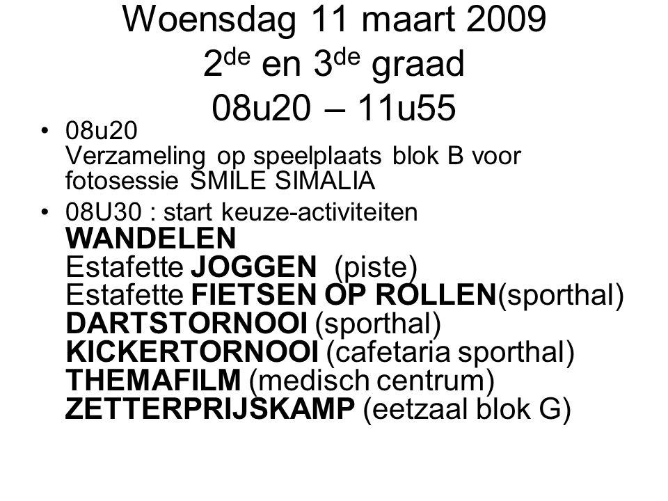Woensdag 11 maart 2009 2 de en 3 de graad 08u20 – 11u55 08u20 Verzameling op speelplaats blok B voor fotosessie SMILE SIMALIA 08U30 : start keuze-acti