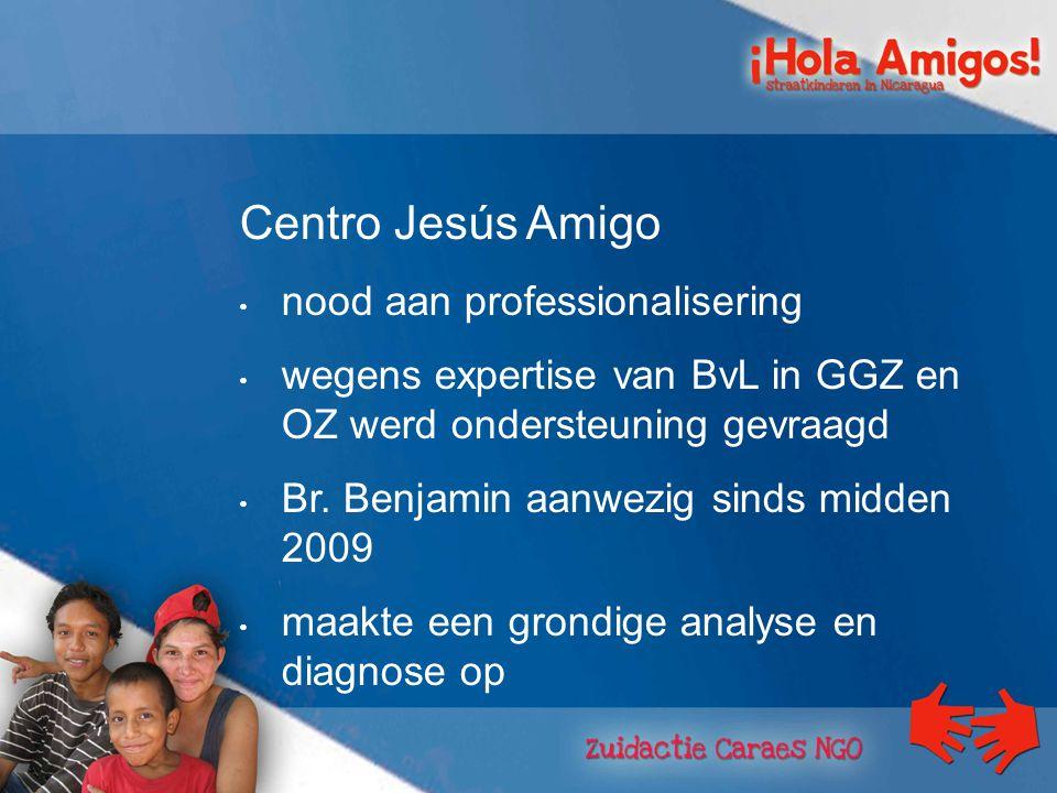 Centro Jesús Amigo nood aan professionalisering wegens expertise van BvL in GGZ en OZ werd ondersteuning gevraagd Br.