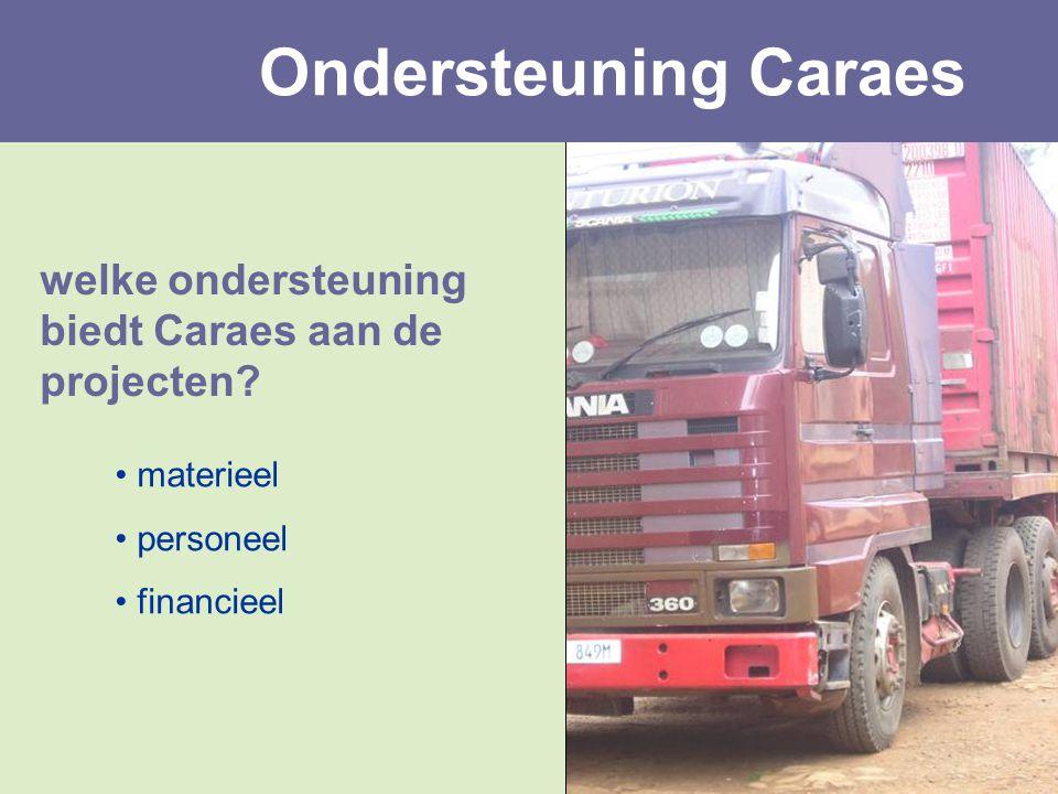 welke ondersteuning biedt Caraes aan de projecten? materieel personeel financieel Ondersteuning Caraes