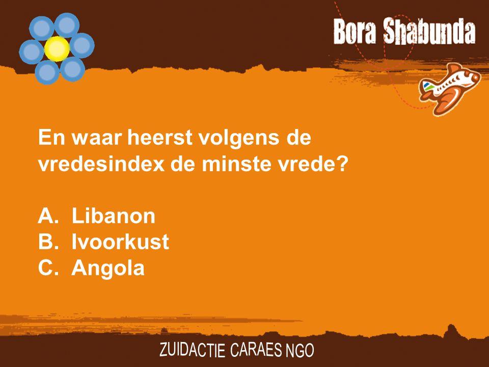En waar heerst volgens de vredesindex de minste vrede? A.Libanon B.Ivoorkust C.Angola