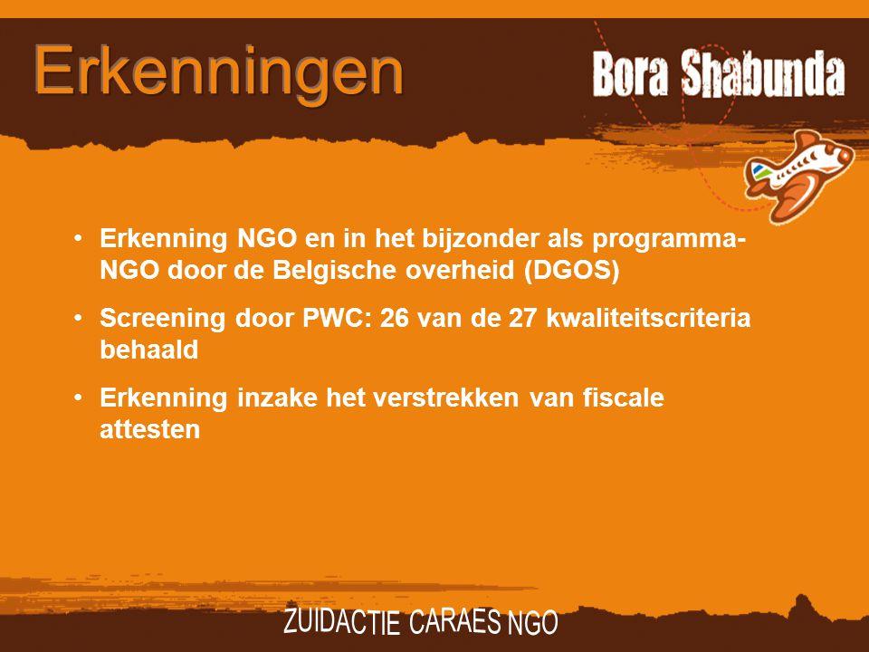 Erkenning NGO en in het bijzonder als programma- NGO door de Belgische overheid (DGOS) Screening door PWC: 26 van de 27 kwaliteitscriteria behaald Erkenning inzake het verstrekken van fiscale attesten
