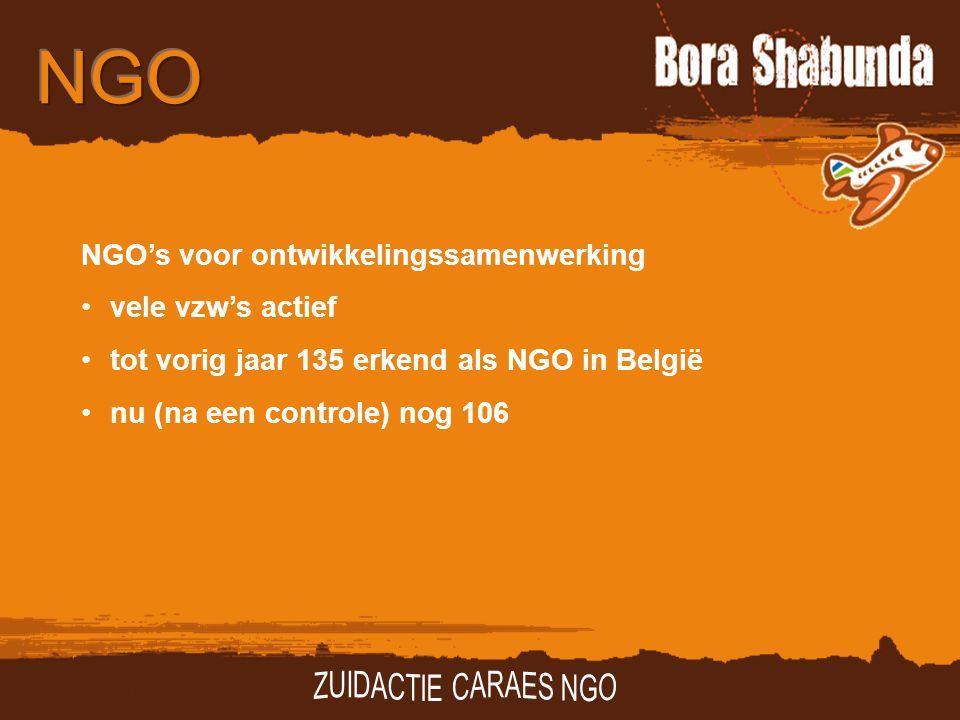 NGO's voor ontwikkelingssamenwerking vele vzw's actief tot vorig jaar 135 erkend als NGO in België nu (na een controle) nog 106