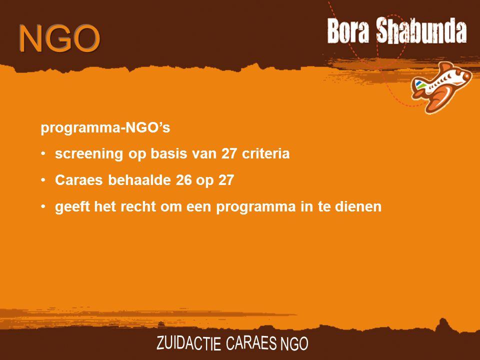 programma-NGO's screening op basis van 27 criteria Caraes behaalde 26 op 27 geeft het recht om een programma in te dienen