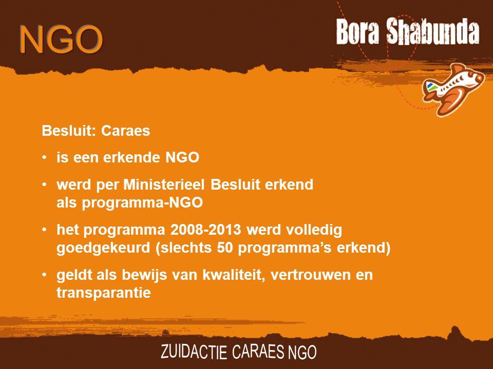Besluit: Caraes is een erkende NGO werd per Ministerieel Besluit erkend als programma-NGO het programma 2008-2013 werd volledig goedgekeurd (slechts 50 programma's erkend) geldt als bewijs van kwaliteit, vertrouwen en transparantie
