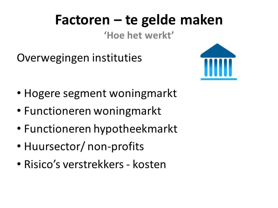 Factoren – te gelde maken 'Hoe het werkt' Overwegingen instituties Hogere segment woningmarkt Functioneren woningmarkt Functioneren hypotheekmarkt Huursector/ non-profits Risico's verstrekkers - kosten